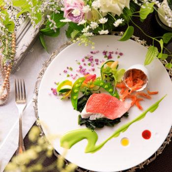 静岡産の金目鯛と桜海老 春の彩り